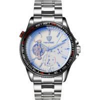 Relógio Tevise D-796 Masculino Automático Pulseira De Aço - Branco