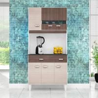 Cozinha Compacta Kit Manu 6 Portas Com 2 Gavetas E Amendoa/Capuccino Poquema