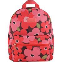 Mochila Floral Com Tag- Vinho & Rosa- 29,5X12,5X38Cmjacki Design