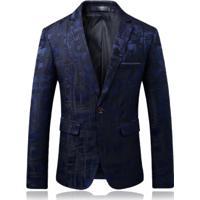 Blazer Masculino Estampado - Azul M