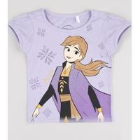 Blusa Infantil Anna Frozen Com Glitter Manga Curta Lilás