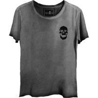 Camiseta Estonada Gola Canoa Corte A Fio Caveira Fantasma Bolso