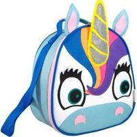 Lancheira Infantil Mumagi Unicornio Nicky Feminina - Feminino-Branco+Azul