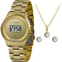 Kit Relógio Digital Lince Feminino + Colar Com Brincos - Sdg4610L Kx86Bxkx Dourado