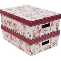 Jogo De Caixas Floral Retangular- Branco & Vermelho-Boxmania