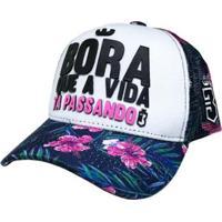 Boné Infantil Bora Trucker Borinha Floral - Unissex-Azul+Rosa