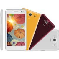 Smartphone Multilaser Ms50 Branco, Android 5, Dual Cam, Tela 5, Dual Chip, 16Gb