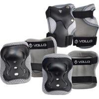 Kit De Proteção Vollo Infantil Patins Skate Bicicleta Unissex - Unissex-Preto
