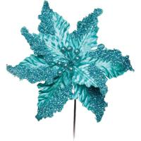 Flor Artificial Decoração Natal C/ Glitter Menta Verde