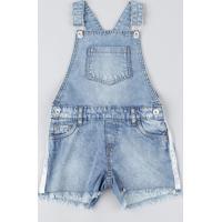 Jardineira Jeans Infantil Feminina Com Bolsos Azul Claro