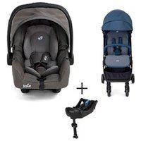 Carrinho Bebe Pact Azul + Bebe Conforto 0 A 13 Kg Cinza - Raaccbe295 + Base Para Bebe Conforto Clickfit - Joie