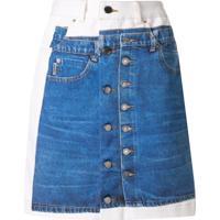 Andrea Crews Minissaia Jeans Com Estampa - Branco