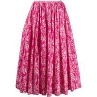 Marni Saia Com Estampa Floral De Pinceladas - Rosa