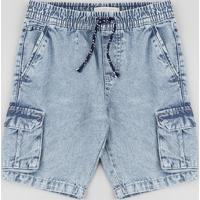 Bermuda Jeans Infantil Reta Cargo Com Cordão Azul Claro