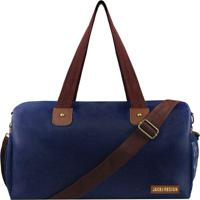 Bolsa De Viagem- Azul Marinho & Marrom- 40X30X9Cm