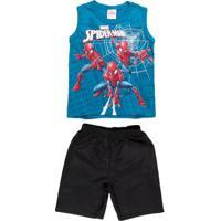 Conjunto Spider Man Infantil Para Menino - Verde/Preto