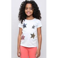Blusa Infantil Com Estrela De Paetês Manga Curta Cinza Mescla Claro