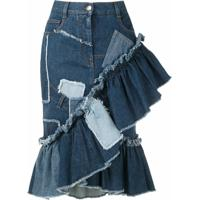 Dolce & Gabbana Saia Jeans Com Patchwork - Azul