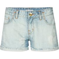 Shorts Jeans Claro Pesponto Cós Canellado