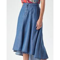 Saia Botões Jeans Leve Feminina - Feminino-Azul