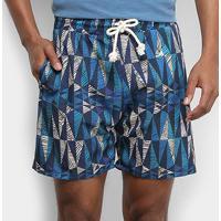 Short Gajang Estampado Masculino - Masculino-Azul