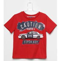 Camiseta Infantil Cativa Estampa Carro Feminina - Masculino-Vermelho