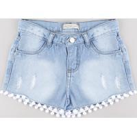 Short Jeans Infantil Com Pompom E Puídos Azul Claro