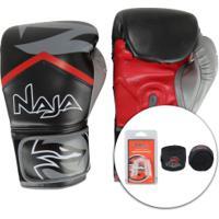 Kit De Boxe Naja: Bandagem + Protetor Bucal + Luvas De Boxe New Extreme 19 - 14 Oz - Adulto - Preto/Vermelho