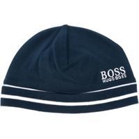 Boss Kids Boné Listrado Com Logo - Azul
