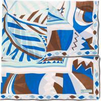 Emilio Pucci Echarpe De Seda Com Estampa Abstrata - Azul