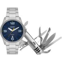 Kit De Relógio Analógico Orient Masculino + Canivete - Mbss1288 K252D2Sx Prateado - Único