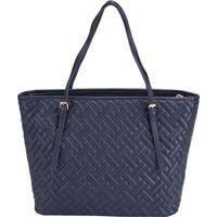 Shopping Bag Stz Matelassê Geométrico Marinho -