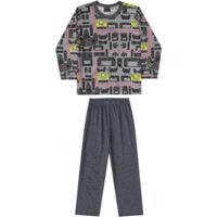 Pijama Blusa E Calça Meia Malha Pai E Filho Quimby Masculino - Masculino-Cinza