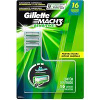 Carga Para Aparelho De Barbear Gillette Mach3 Sensitive Com 16 Unidades 16 Unidades