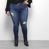 Calça Jeans Sawary Plus Size Feminina - Feminino-Azul