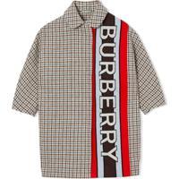 Burberry Kids Casaco Xadrez Com Logo E Padronagem Pied-De-Poule - Marrom