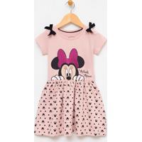 Vestido Infantil Estampado Com Laço Minnie - Tam 1 A 6