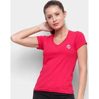 Camiseta Internacional Escudo Retrô Mania Feminina - Feminino-Vermelho