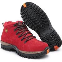 Bota Couro Infantil Click Calçados Antiderrapante - Unissex-Vermelho