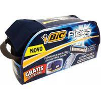 Kit De Barbear Bic Flex 3 Extra Suave Com 4 Aparelho Descartáveis E Ganhe 1 Necessáire