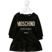 Moschino Kids Vestido Com Logo Bordado - Preto