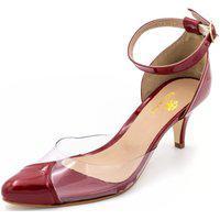 Sapato Scarpin Salto Baixo Em Verniz Vermelho Com Transparência