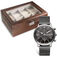 Conjunto Relógio Vivara Masculino Aço E Porta-Relógios 8 Divisórias