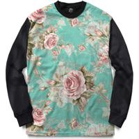 Blusa Bsc Flowery Sky Full Print - Masculino-Preto