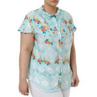 Camisa Manga Curta Plus Size Feminina Verde cad184c5e157b