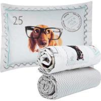Jogo De Cama Kacyumara Queen 160 Fios New Dogs Innovi Branco