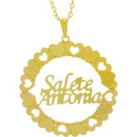 Gargantilha Horus Import Pingente Manuscrito Salete Antonia Banho Ouro Amarelo