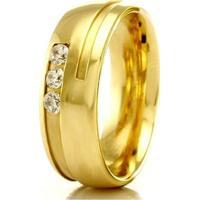 Aliança De Casamento Feminina Em Ouro 18K 750 Wm Joias 5,4Mm Com Zircônia F2318 - Feminino