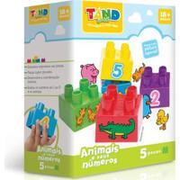 Bloco De Montar - Tand Baby - 5 Peças - Animais E Seus Números - Toyster - Unissex-Incolor