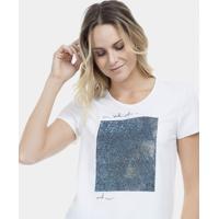 Blusa Malha Aplique Termocolante Branco Off White - Lez A Lez